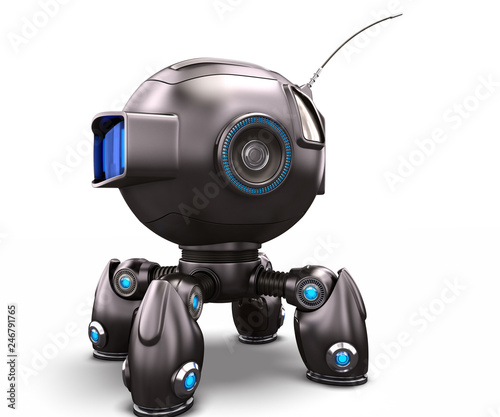 Sci Fi 3d Illustration Robot Dog On The White Background