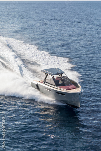 Poster Water Motor sports luxury motor boat, aerial view