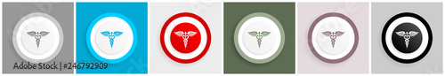 Fotografia  Emergency icon set, vector illustrations in 6 options for web design and mobile