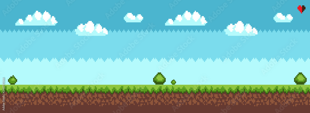 Fototapeta Tree and bush pixel style vector illustration landscape with sky grass and ground. Green plants for 2D game decor, vector tree bush greenery elements