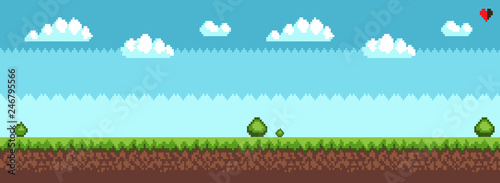 Fototapeta Tree and bush pixel style vector illustration landscape with sky grass and ground. Green plants for 2D game decor, vector tree bush greenery elements obraz