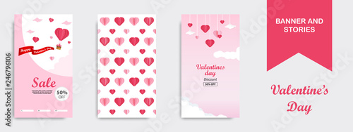 Fototapeta Valentines Day Vertical Banner Template in paper cut out style in white, red and pink color. Suitable for roll banner, flyer, brochure, story or stories on social media background obraz