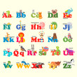 Alphabet with animals, toon. English alphabet, vector illustration.