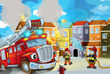 Cartoon Stage With Fireman And...