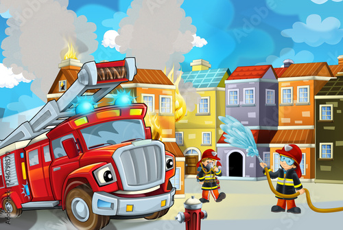 Foto op Canvas Cars cartoon stage with fireman and fire truck near burning building colorful scene - illustration for children