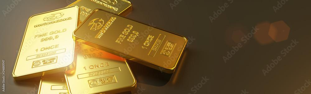 Fototapeta Gold bar close up shot. wealth business success concept