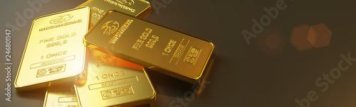 Obraz Gold bar close up shot. wealth business success concept - fototapety do salonu