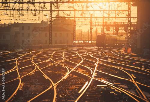 Canvas Prints Railroad Sunrise over the railroad tracks at Perrache station in Lyon, France.