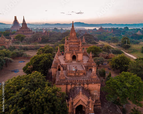 Foto auf Leinwand Schokobraun Bagan Myanmar drone aerial view over the old temples and pagodas, Pagan drone Myanamar