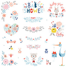 Baby Shower Design Elements And Items. Vector Set.