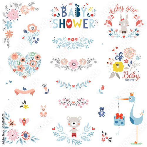 Baby Shower design elements and items. Vector set. Wallpaper Mural
