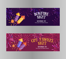 Bonfire Night (Guy Fawkes Day) Flayers Contains Firecrackers, Fireworks And Text Block On The Purple Background