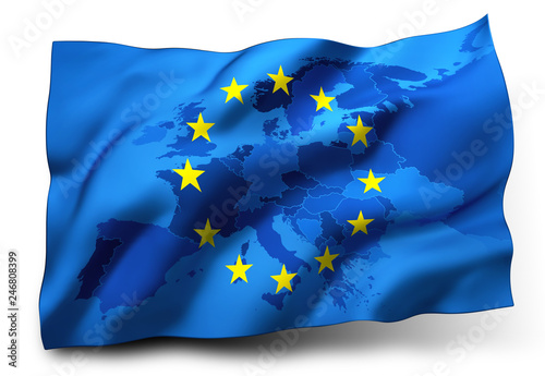 Flag of European Union - Europe Map inside Canvas-taulu