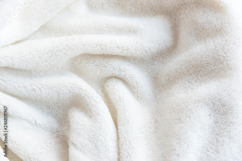White delicate soft  background of plush fabric Canvas Print