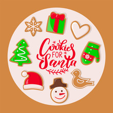 Cookie For Santa Claus Sweets For Christmas Holiday Vector. Presents And Hat, Mitten And Heart Sign, Giftbox And Snowflake Shaped, Evergreen Pine Tree
