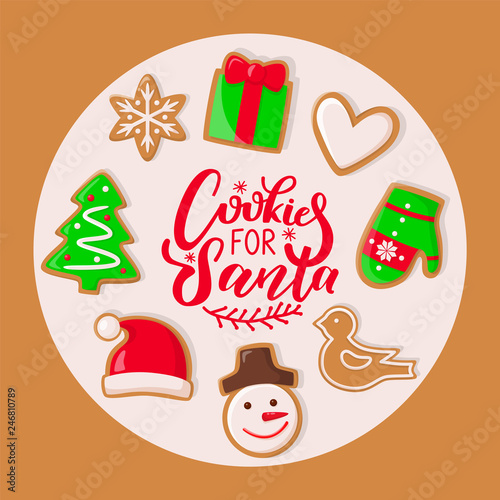 Cookie For Santa Claus Sweets For Christmas Holiday Vector Presents