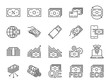 Money line icon set. Included icons as cash, passive income, bank, banknote, currency and more.