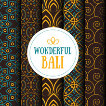 Vector Set Of Five Seamless Patterns In Indonesian Vintage Batik Luxury Style With The Text.