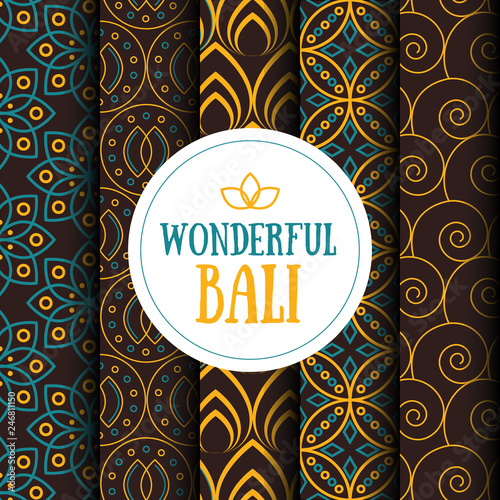 Fotografía  Vector set of five seamless patterns in Indonesian vintage batik luxury style with the text