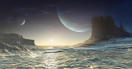Icy alien planet