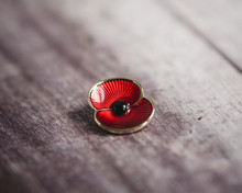 A Commemorative Enamel Poppy Pin To Mark Remembrance Day, On A Wooden Backdrop.