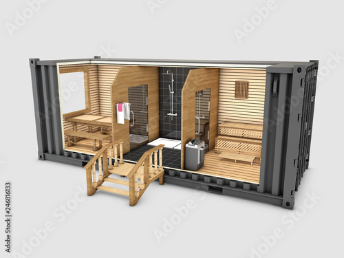 Poster Schip Converted old shipping container into sauna, 3d Illustration isolated gray