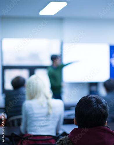 Fotografie, Obraz  Corporate Seminar Speaker Giving Training to New Employees