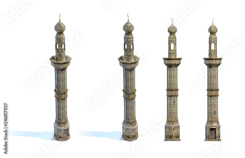 Leinwand Poster Set of 3d-renders of old minaret