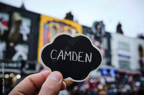 Fotobehang Centraal Europa word Camden in a signboard in London, UK