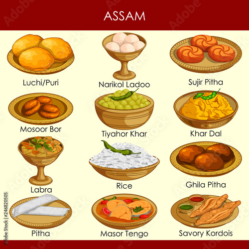 illustration of delicious traditional food of Assam India Canvas Print