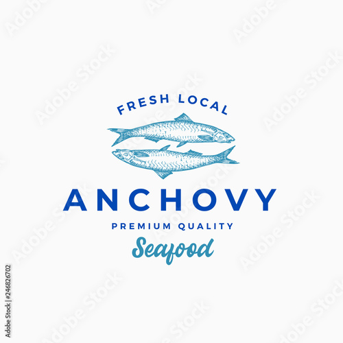 Photo Fresh Local Anchovy Abstract Vector Sign, Symbol or Logo Template