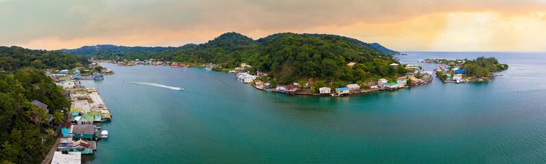 180 degree aerial panorama of Roatan at sunrise.