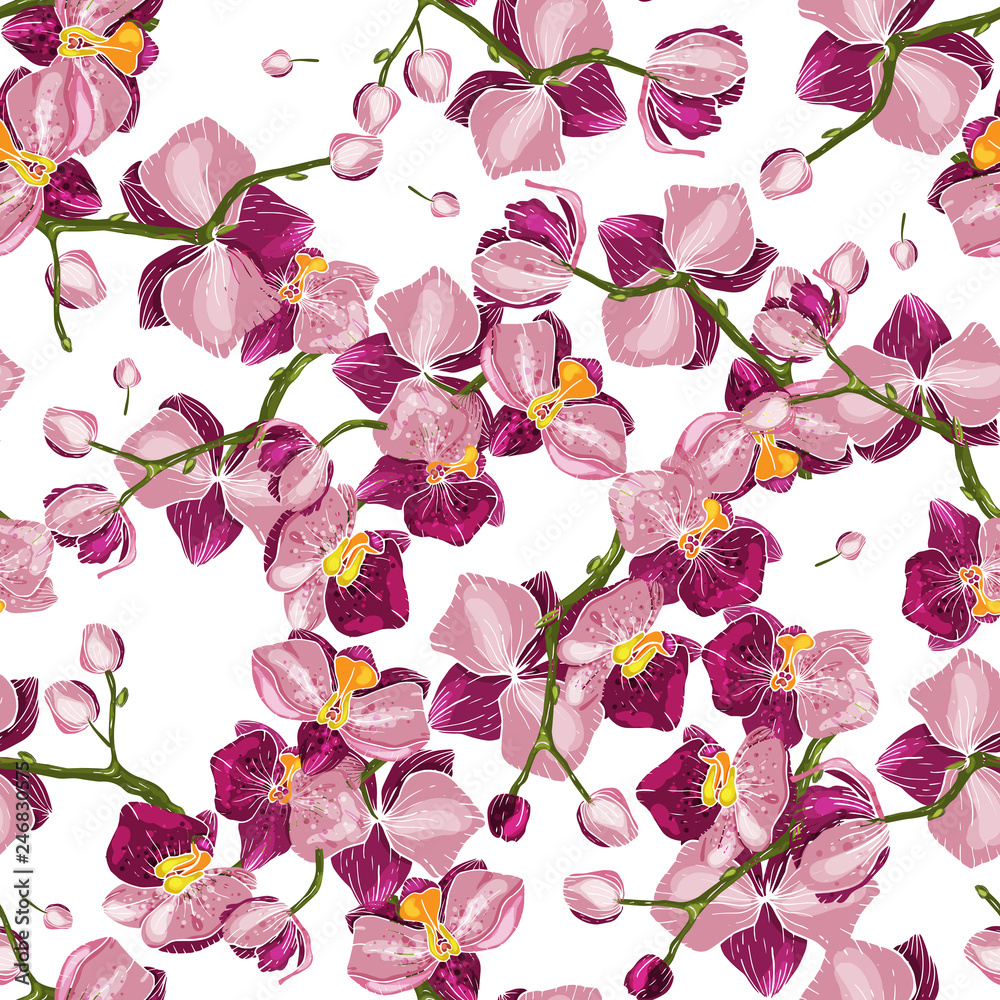 Hand-drawn floral vector illustration for fashion, fabric. Handsketched hothouse flower surface and textile print. Japanese Garden seamless pattern spring Asia Flowers. Wallpaper.
