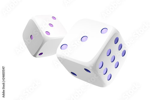 Casino white dice isolated on white background Tableau sur Toile