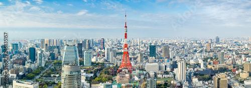 Deurstickers Tokio Tokyo Panorama mit Tokyo Tower, Japan