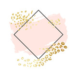 Abstract geometric vector background, brush illustration. Pink ink brush stroke with rich golden exotic leopard animal skin texture - 246835710