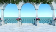 Roman 3D Render Sea View Anceint Style Classic Balcony Luxury Terrace