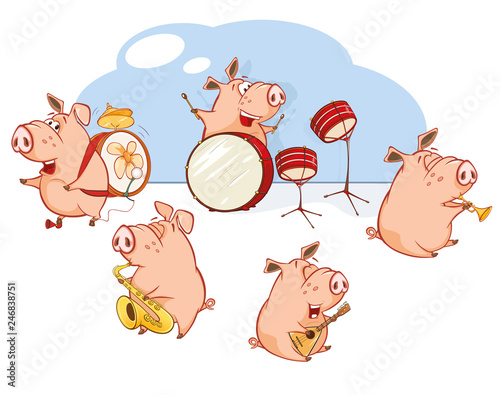 Foto op Plexiglas Babykamer Vector Illustration of The Great Animal Pig Orchestra