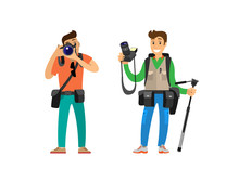 Photographers Taking Picture With Photo Equipment. Photojournalist And Reporter Carrying Bag Or Backpack, Tripod For Camera Vector Illustrations Set.