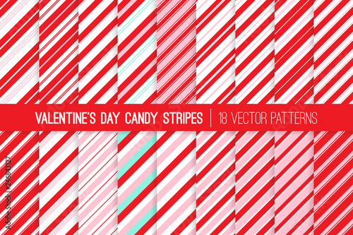 fototapeta na lodówkę Super Pack of Red, Pink, Aqua Blue and White Candy Cane Stripes Vector Patterns. Valentine's Day Backgrounds. Repeating Pattern Tile Swatches Included.