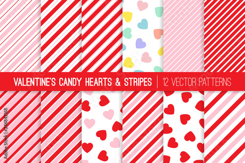 fototapeta na ścianę Valentine's Day Candy Hearts and Candy Cane Stripes Seamless Vector Patterns. Pink, Red and Pastel Rainbow Conversation Hearts Backgrounds. Repeating Pattern Tile Swatches Included.