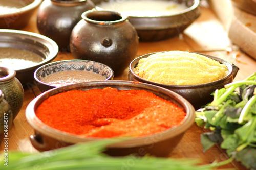 Tuinposter Kruiderij 한국의 음식 배추 김치 축제 백그라운드 이미지