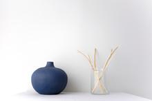 Blue Round Ceramic China Vase ...