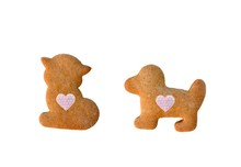 Friendship Between Cat And Dog - Gingerbreads Isolated On White Background