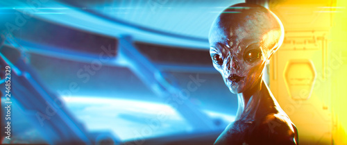 Fotografia, Obraz Extraterrestrial in a spaceship near the earth -  3d rendering - artistic repres