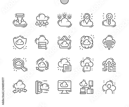 Cloud Computing Well-crafted Pixel Perfect Vector Thin Line Icons 30 2x Grid for Web Graphics and Apps. Simple Minimal Pictogram Wall mural