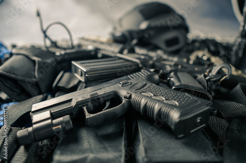 Photo  military equipman and weapons close up shooting