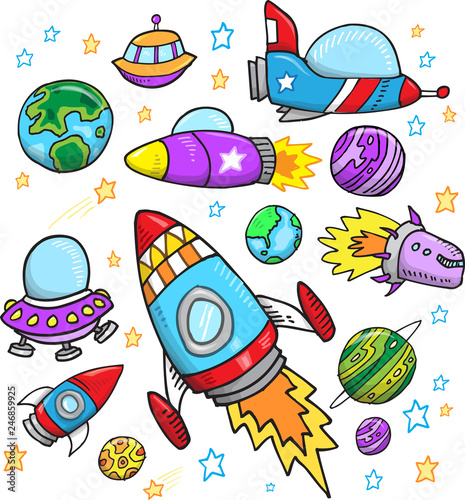Spoed Foto op Canvas Cartoon draw Cute Outer Space Vector Illustration Set