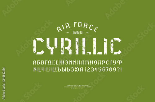 Photo Stencil-plate sans serif font in military style