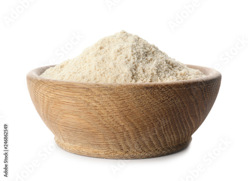 Bowl of sesame flour isolated on white